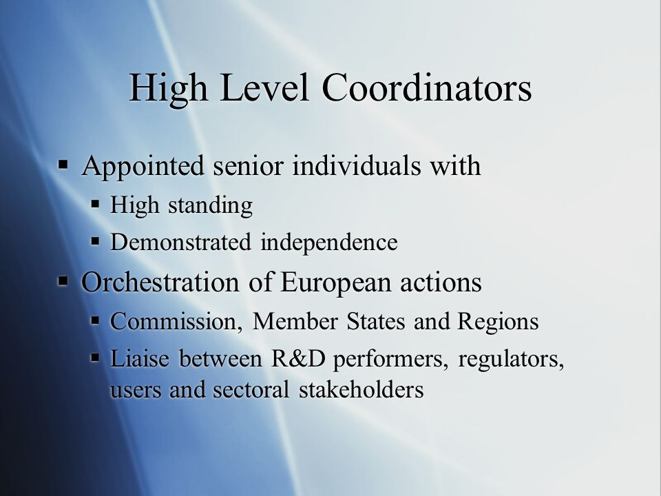 High Level Coordinators