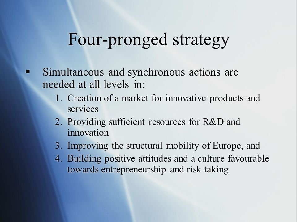 Four-pronged strategy