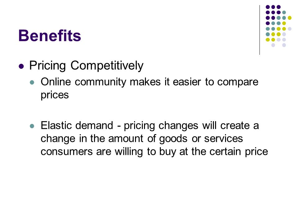 Benefits Pricing Competitively