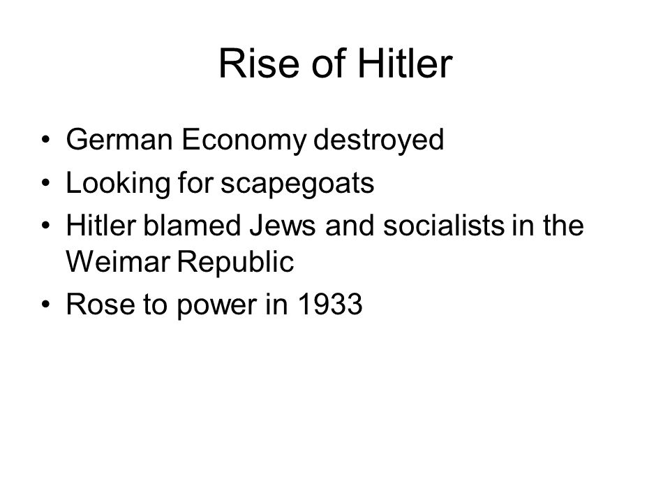 Rise of Hitler German Economy destroyed Looking for scapegoats