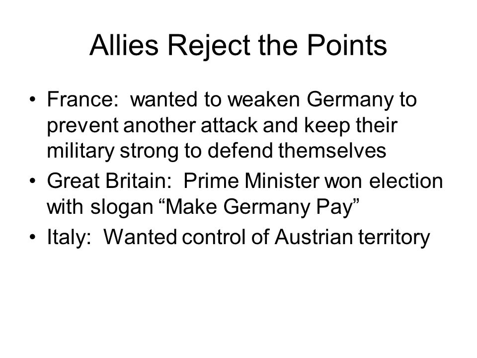 Allies Reject the Points