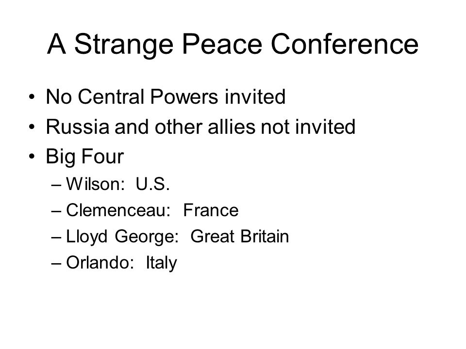 A Strange Peace Conference
