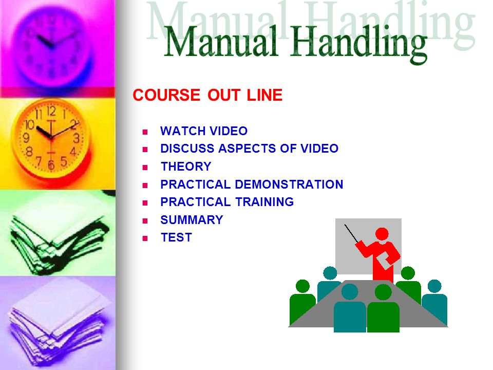 Manual Handling COURSE OUT LINE WATCH VIDEO DISCUSS ASPECTS OF VIDEO