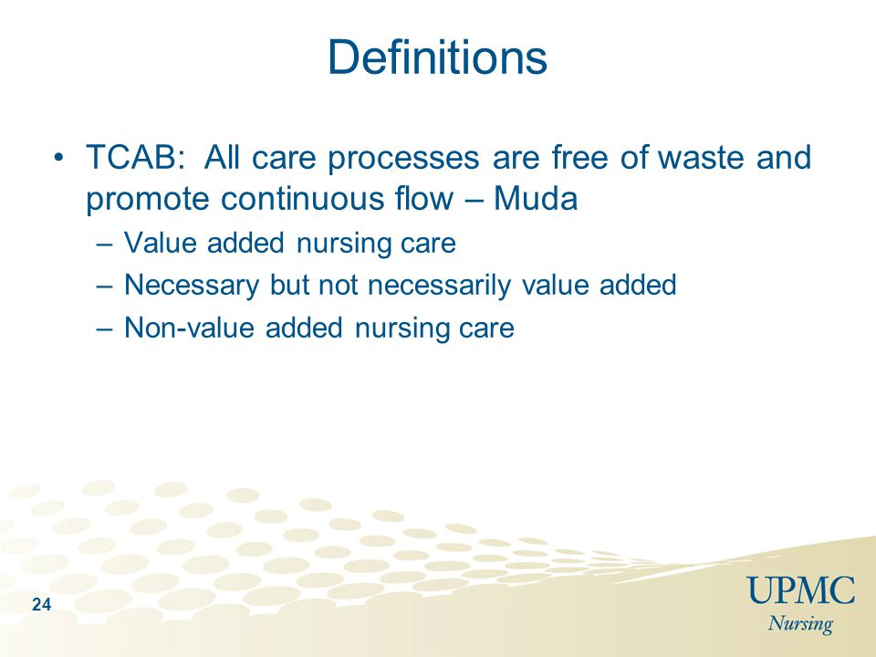 Definitions TCAB: All care processes are free of waste and promote continuous flow – Muda. Value added nursing care.