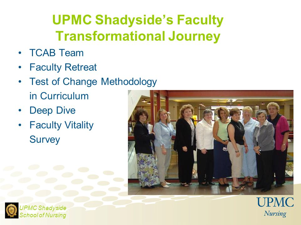 UPMC Shadyside's Faculty Transformational Journey