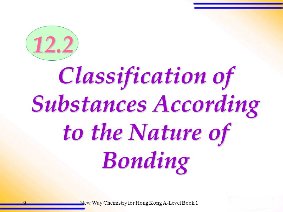 Classification of Substances According to the Nature of Bonding