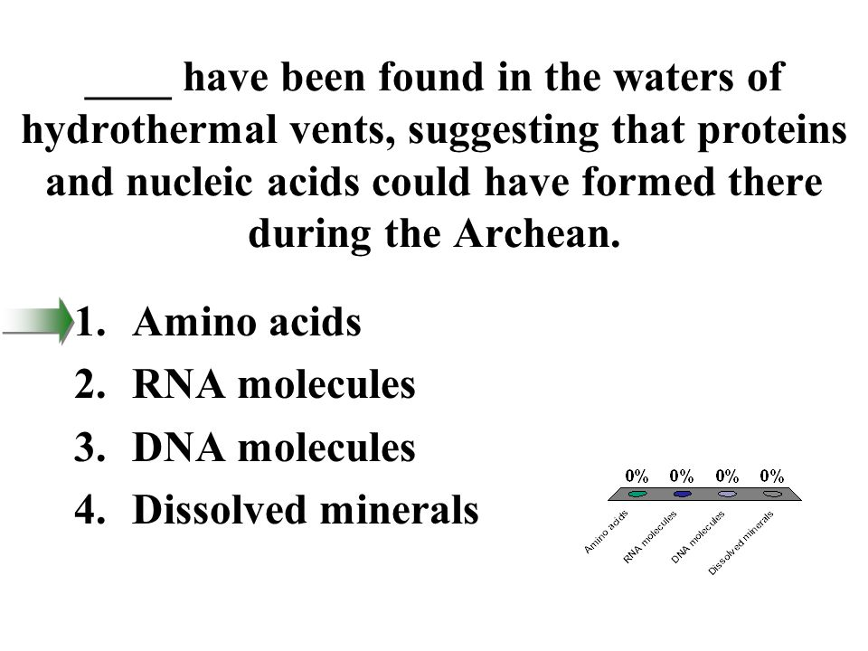 ____ have been found in the waters of hydrothermal vents, suggesting that proteins and nucleic acids could have formed there during the Archean.