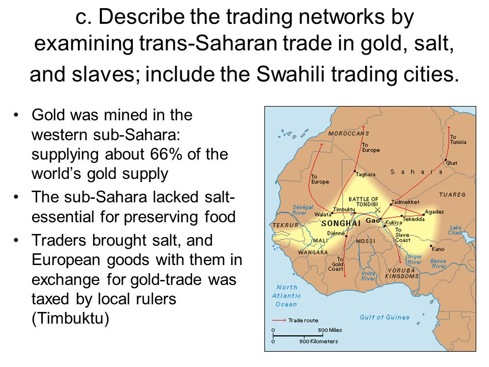 c. Describe the trading networks by examining trans-Saharan trade in gold, salt, and slaves; include the Swahili trading cities.