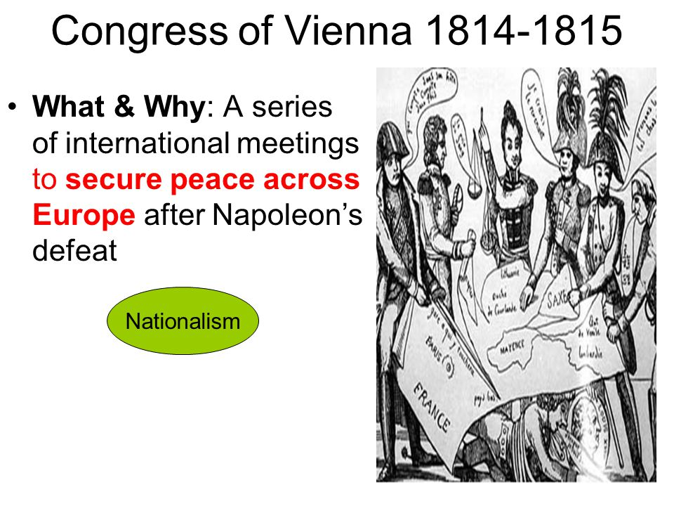 Congress of Vienna 1814-1815 What & Why: A series of international meetings to secure peace across Europe after Napoleon's defeat.