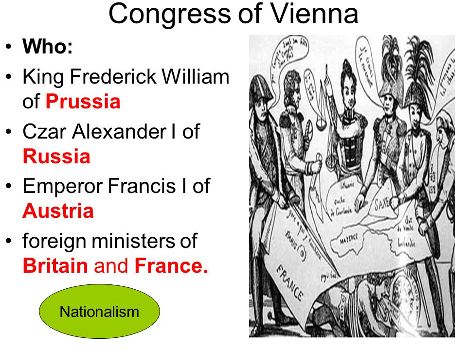 Congress of Vienna Who: King Frederick William of Prussia