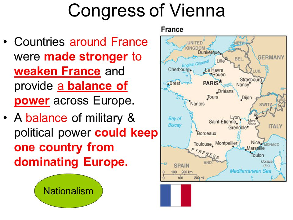 Congress of Vienna Countries around France were made stronger to weaken France and provide a balance of power across Europe.