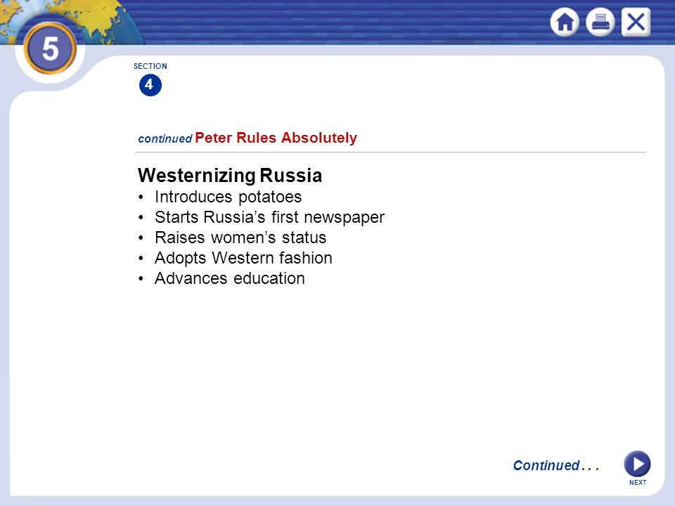 Westernizing Russia • Introduces potatoes