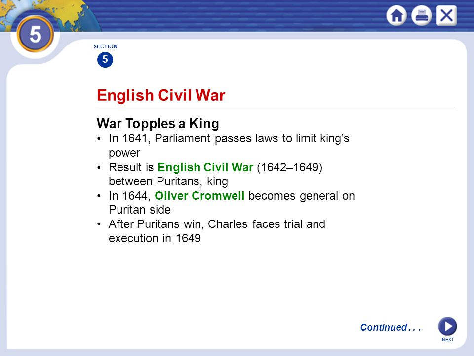 English Civil War War Topples a King