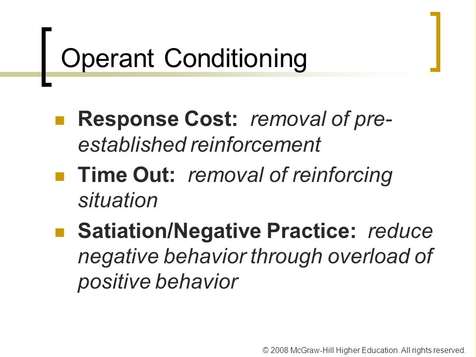 Operant Conditioning Response Cost: removal of pre-established reinforcement. Time Out: removal of reinforcing situation.