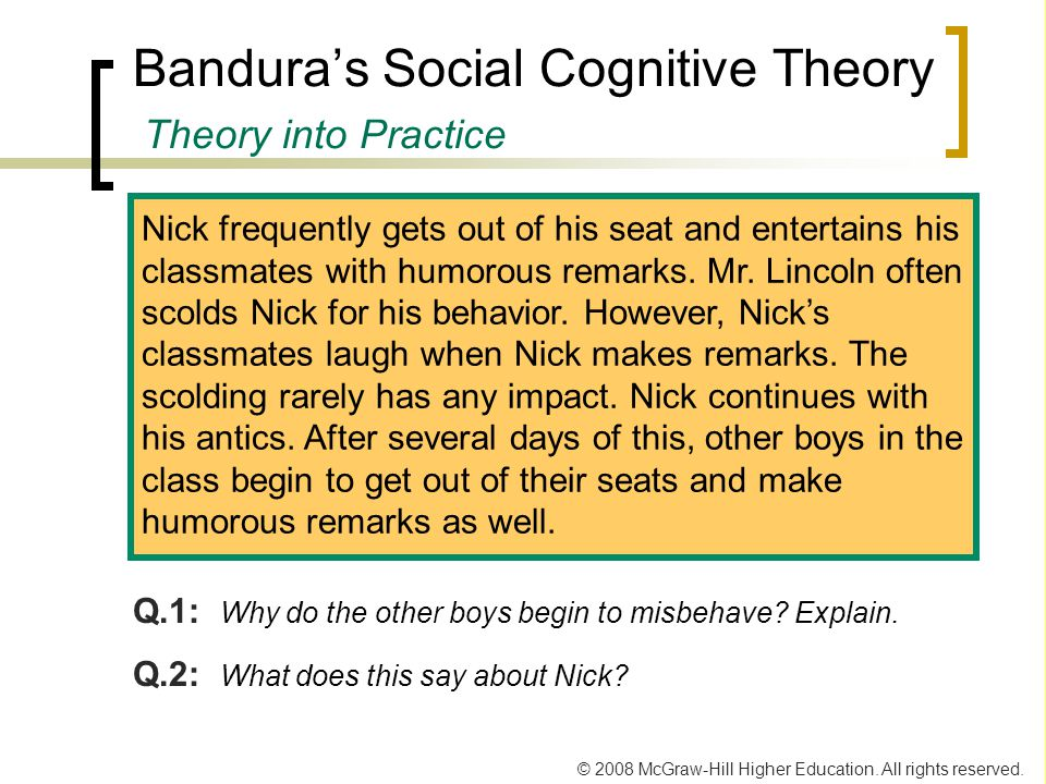 Bandura's Social Cognitive Theory Theory into Practice