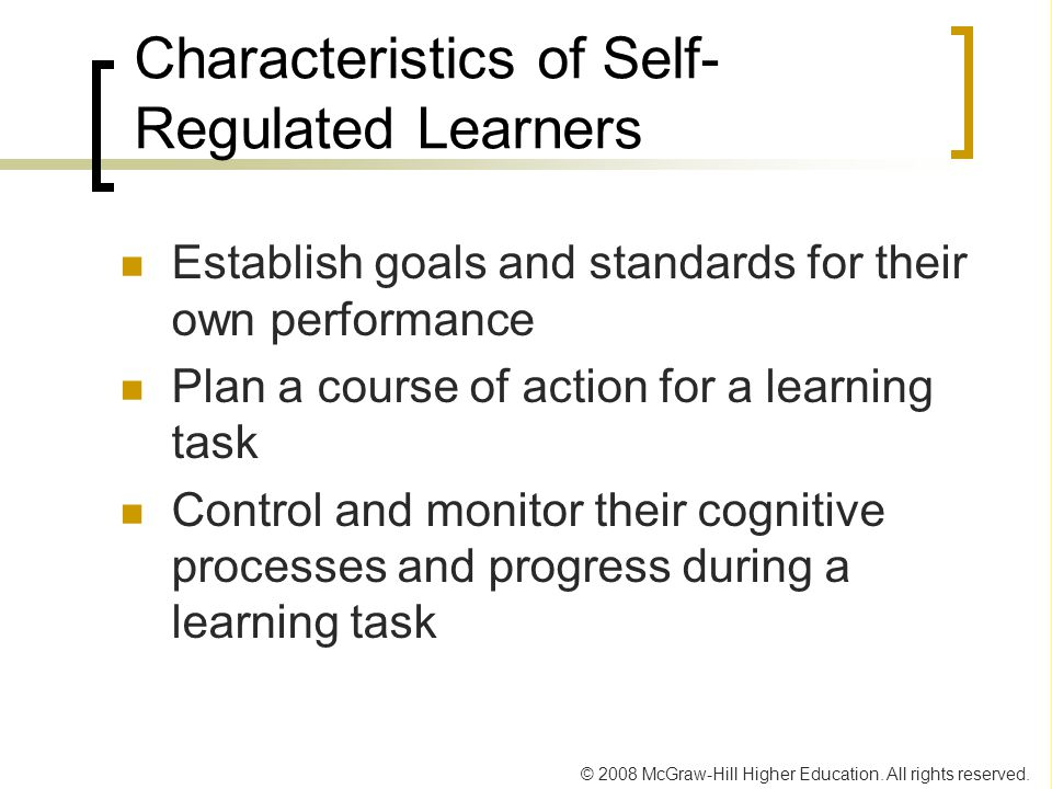 Characteristics of Self-Regulated Learners