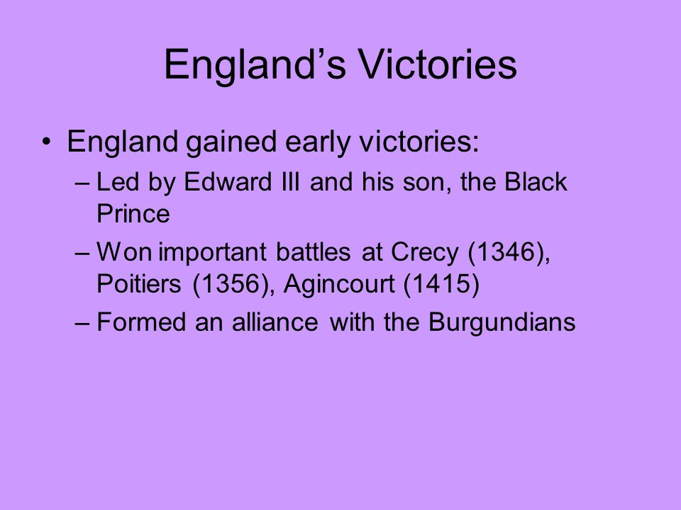 England's Victories England gained early victories: