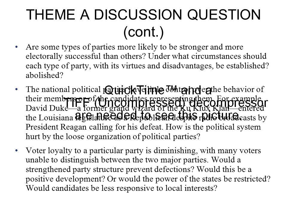 THEME A DISCUSSION QUESTION (cont.)