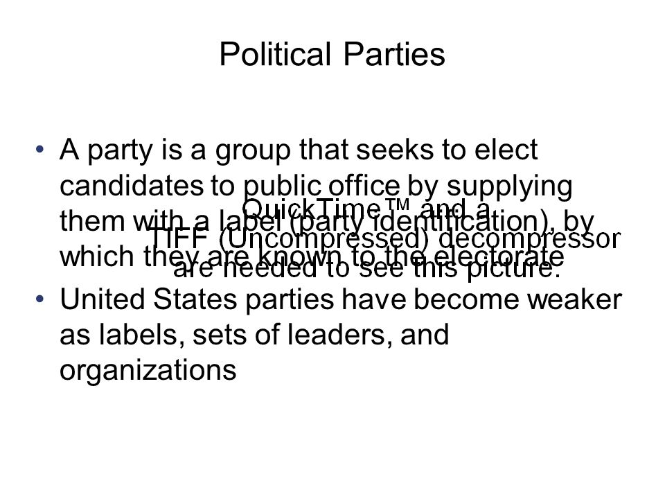 political parties in the united states I would disagree that political parties are weak in our country there are two main political parties in the united states if a person is not a member of one of those political parties, it is very hard to get elected to a state or to a national office.