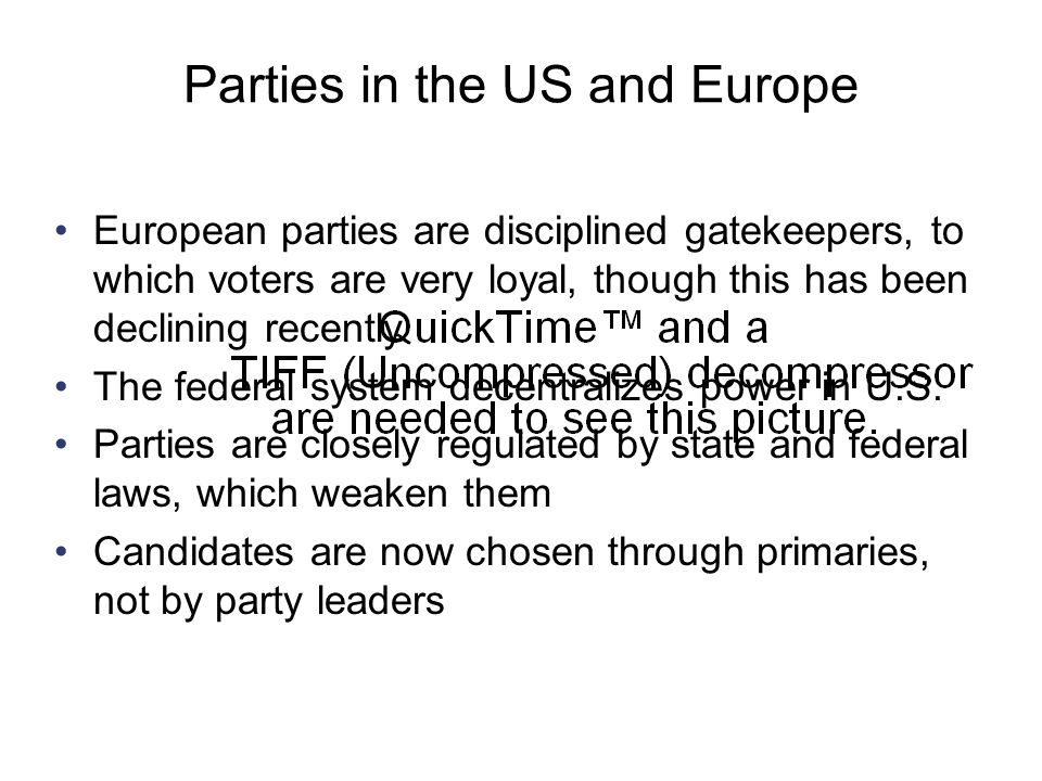 Parties in the US and Europe