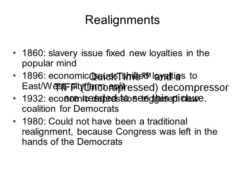 Realignments 1860: slavery issue fixed new loyalties in the popular mind. 1896: economic issues shifted loyalties to East/West, city/farm split.