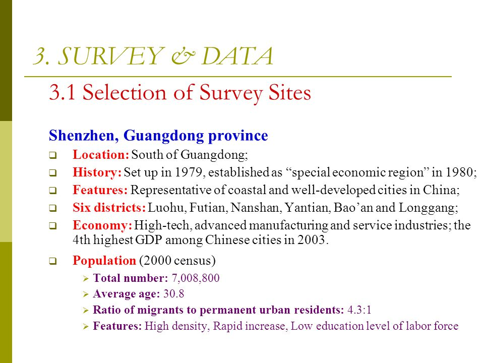 3.1 Selection of Survey Sites