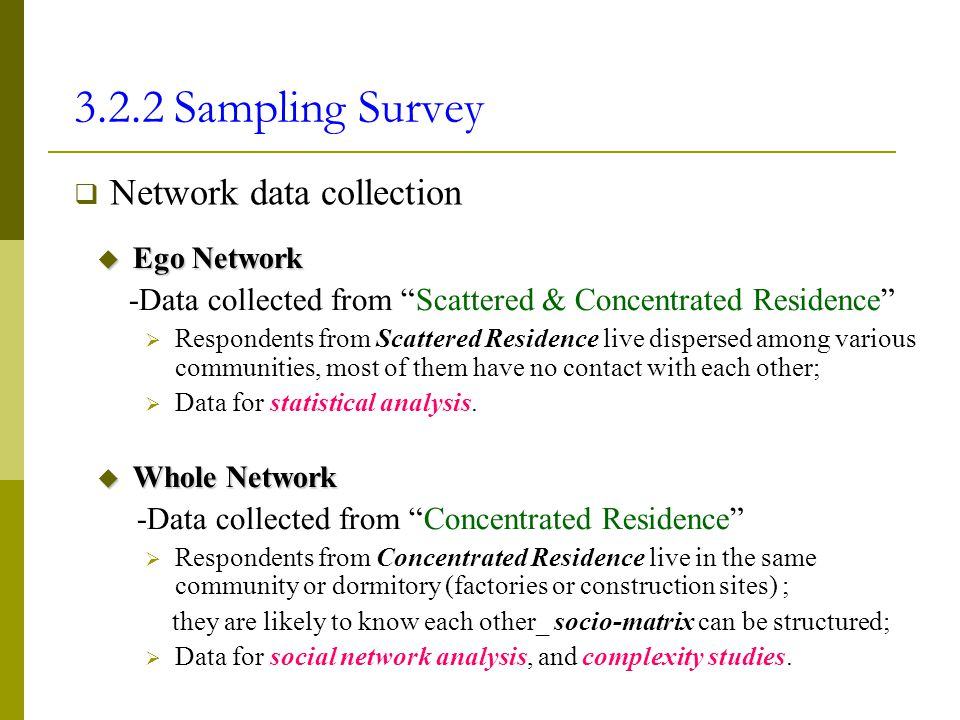 3.2.2 Sampling Survey Network data collection