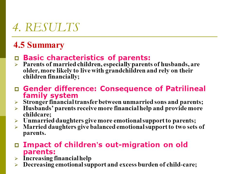 4. RESULTS 4.5 Summary Basic characteristics of parents: