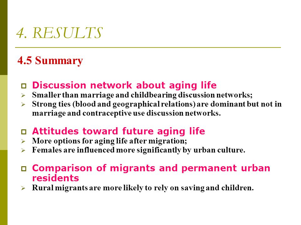 4. RESULTS 4.5 Summary Discussion network about aging life