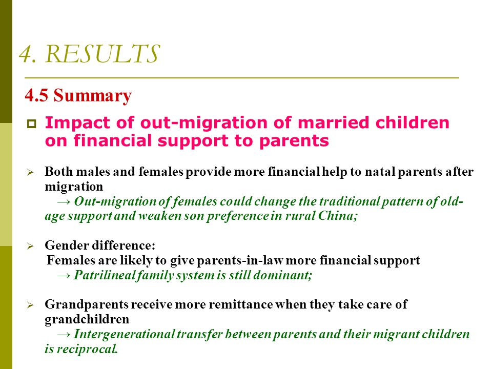 4. RESULTS 4.5 Summary. Impact of out-migration of married children on financial support to parents.