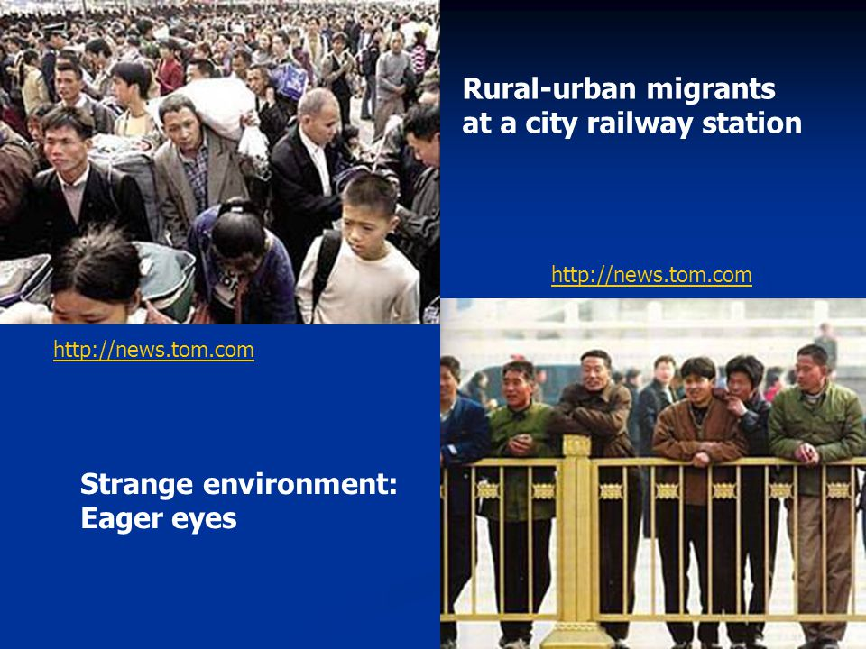 Rural-urban migrants at a city railway station