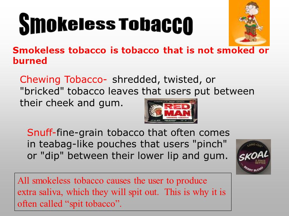 Smokeless Tobacco Smokeless tobacco is tobacco that is not smoked or burned.