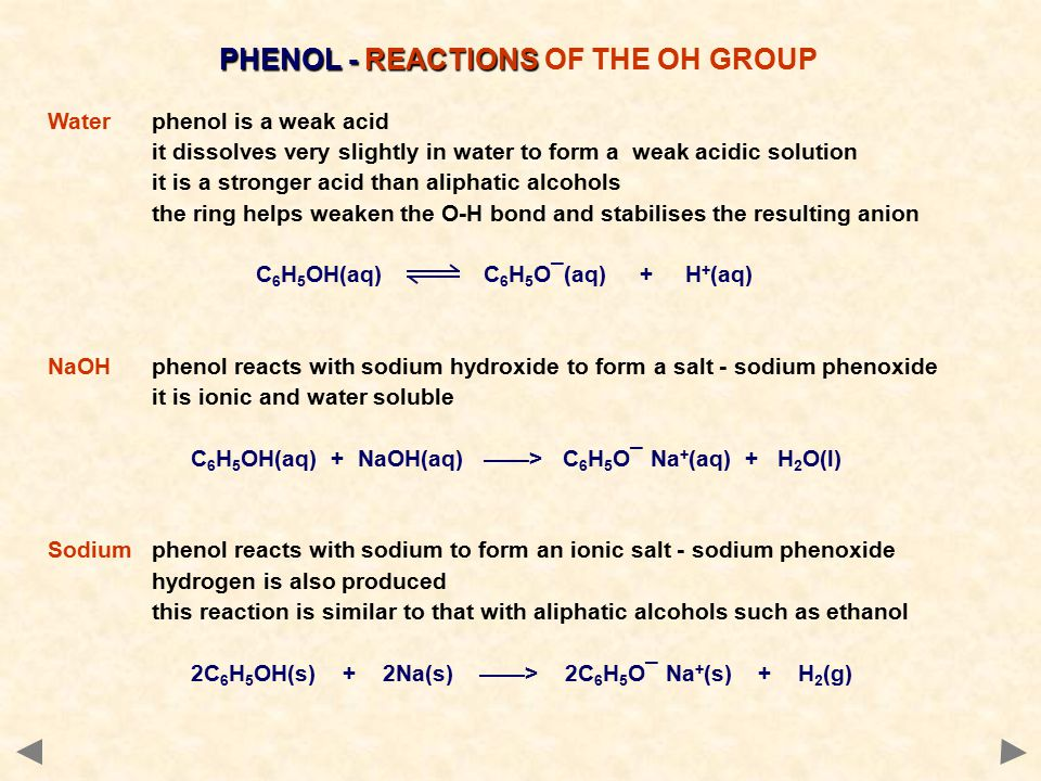 PHENOL - REACTIONS OF THE OH GROUP
