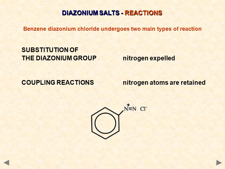 DIAZONIUM SALTS - REACTIONS
