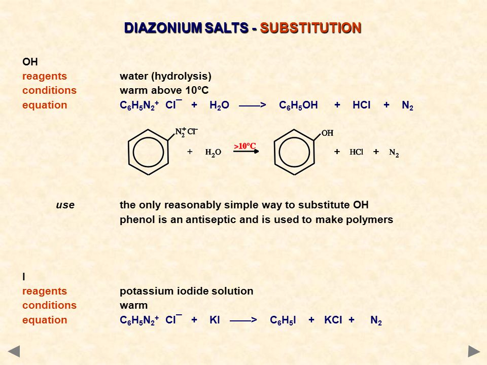 DIAZONIUM SALTS - SUBSTITUTION