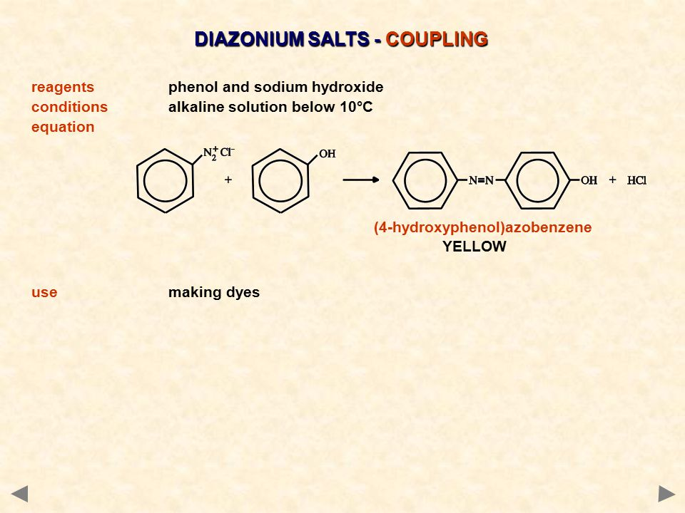 DIAZONIUM SALTS - COUPLING