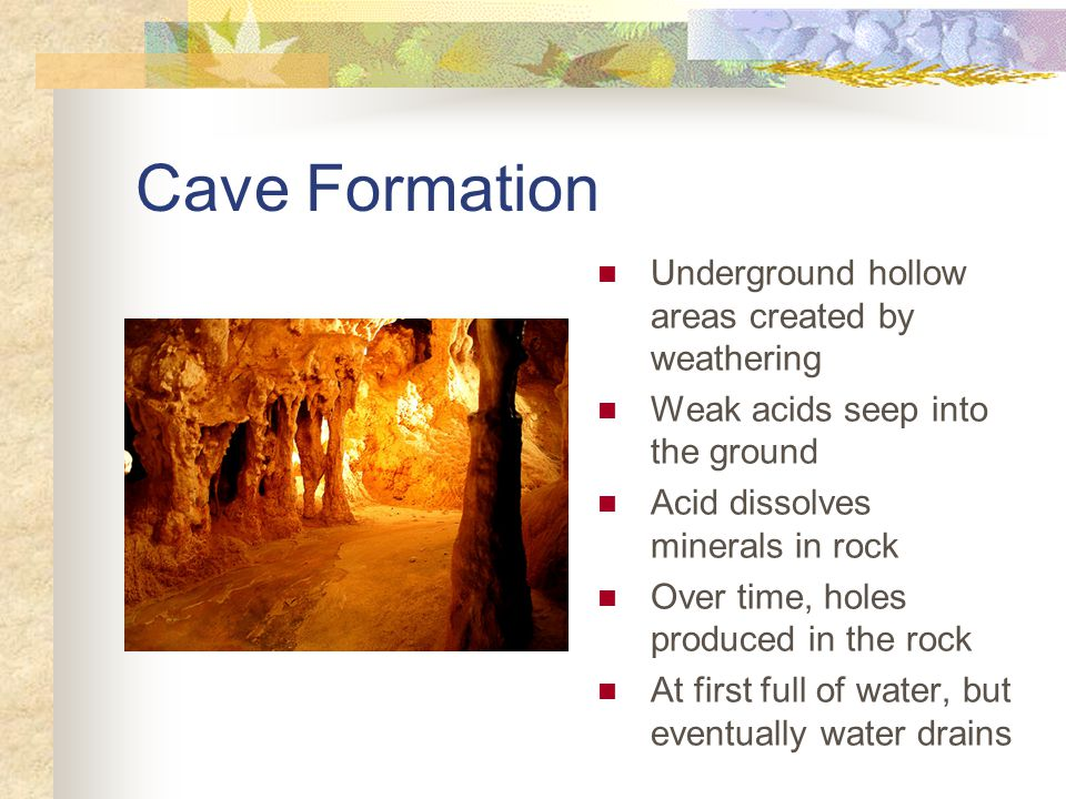 Cave Formation Underground hollow areas created by weathering