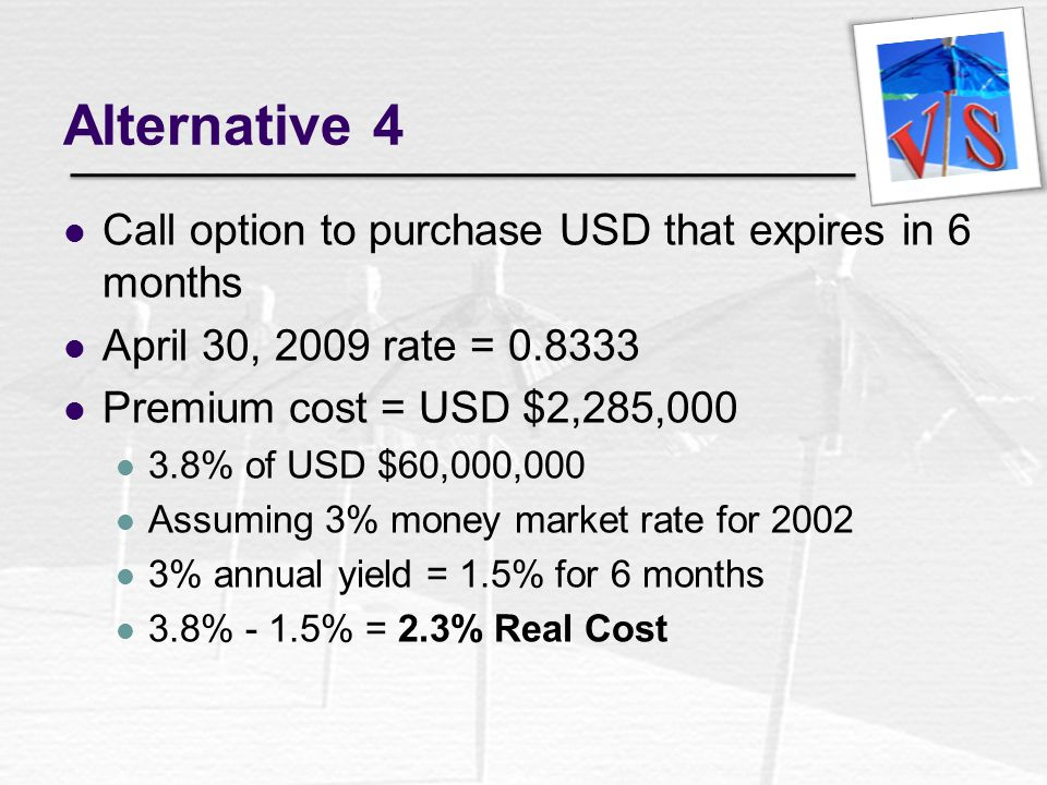 Alternative 4 Call option to purchase USD that expires in 6 months
