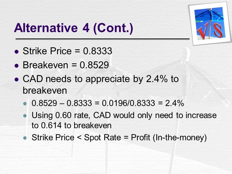 Alternative 4 (Cont.) Strike Price = 0.8333 Breakeven = 0.8529
