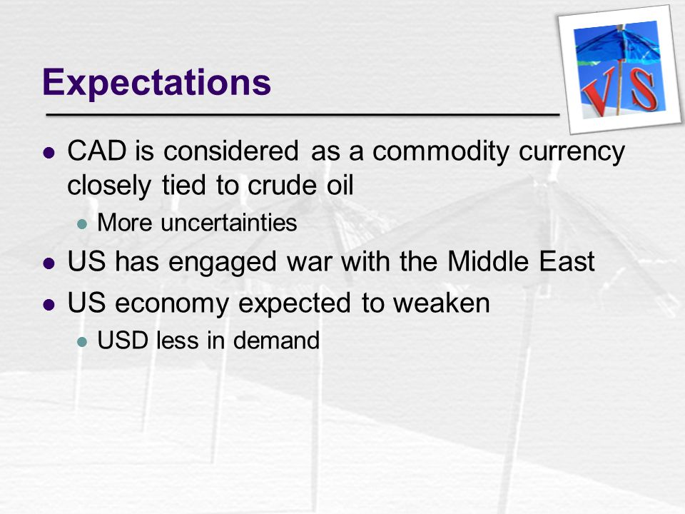 Expectations CAD is considered as a commodity currency closely tied to crude oil. More uncertainties.