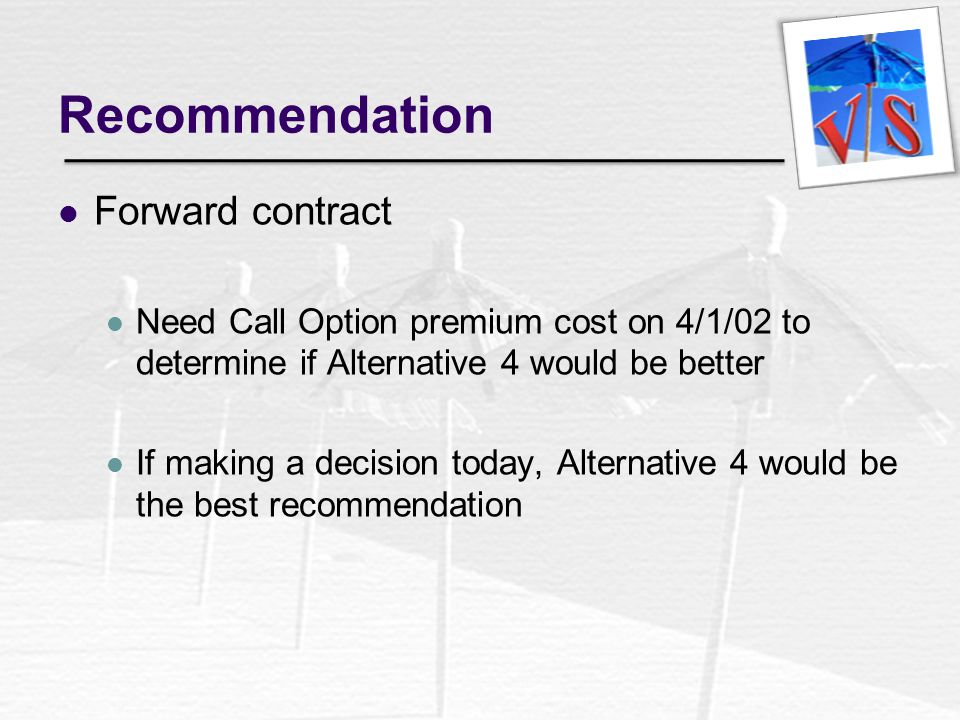 Recommendation Forward contract