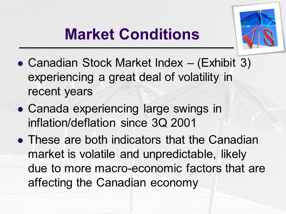 Market Conditions Canadian Stock Market Index – (Exhibit 3) experiencing a great deal of volatility in recent years.