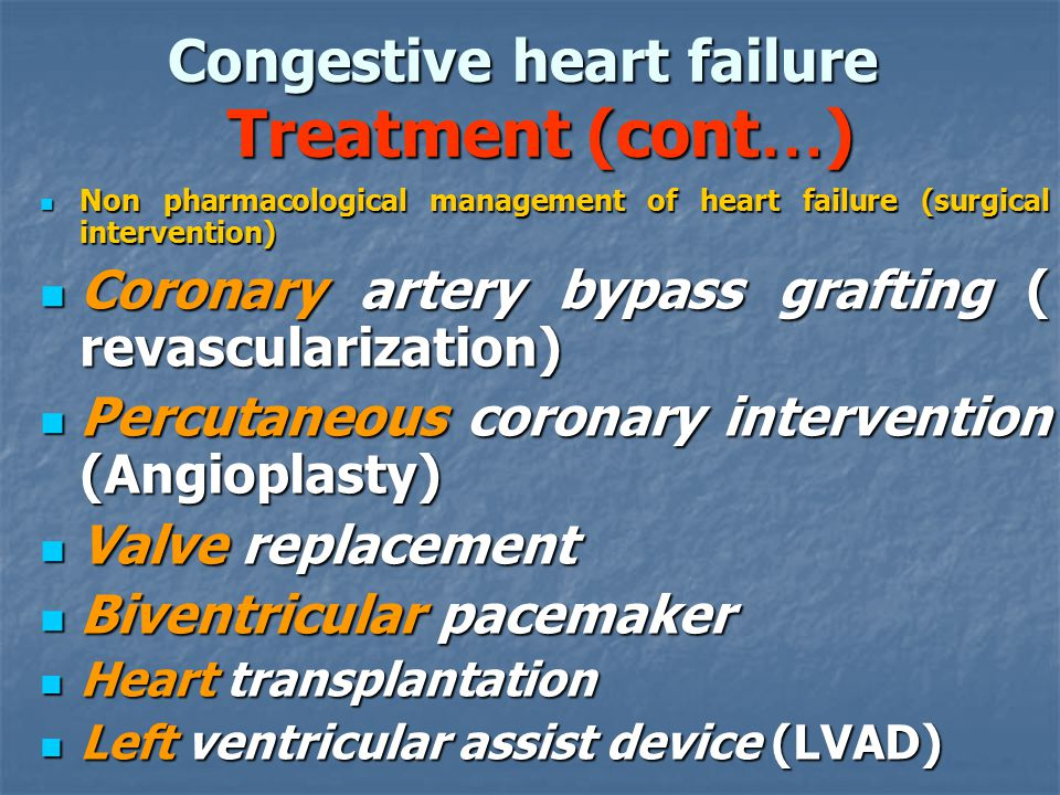 an overview of the causes types symptoms and treatment of congestive heart failure chf Congestive heart failure, or heart failure, is a condition in which the heart is unable to adequately pump blood throughout the body and/or unable to prevent blood from.