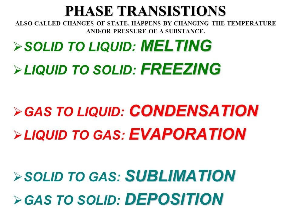 PHASE TRANSISTIONS ALSO CALLED CHANGES OF STATE, HAPPENS BY CHANGING THE TEMPERATURE AND/OR PRESSURE OF A SUBSTANCE.