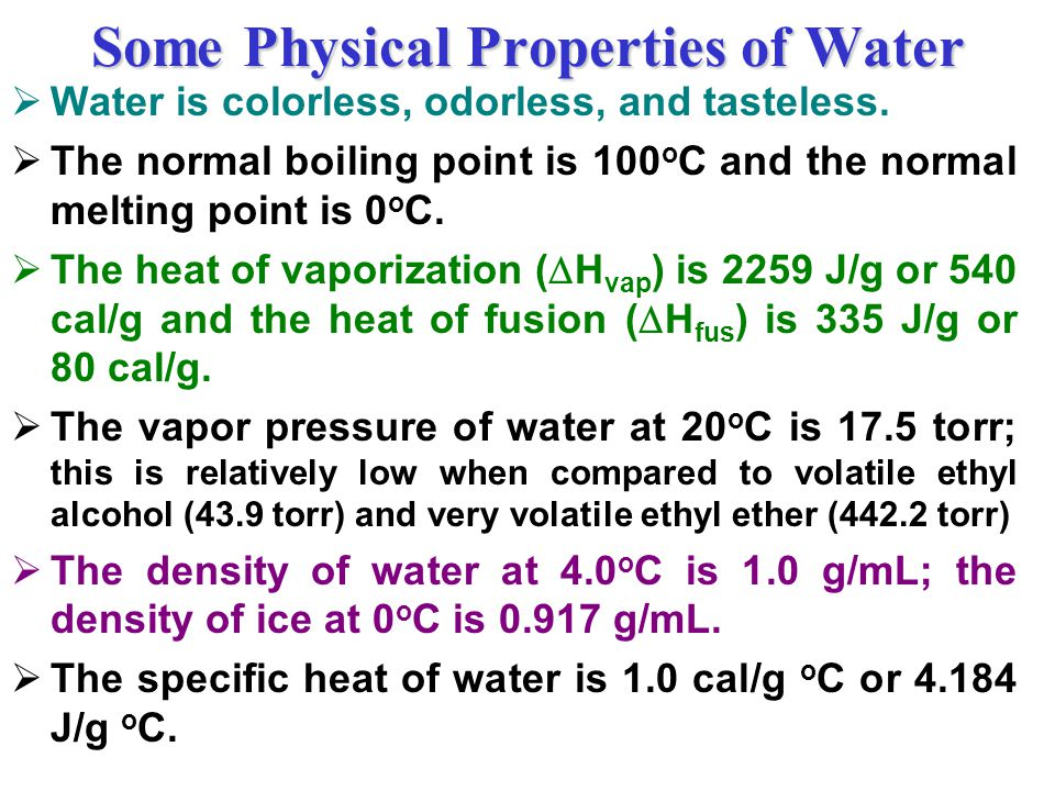 Some Physical Properties of Water