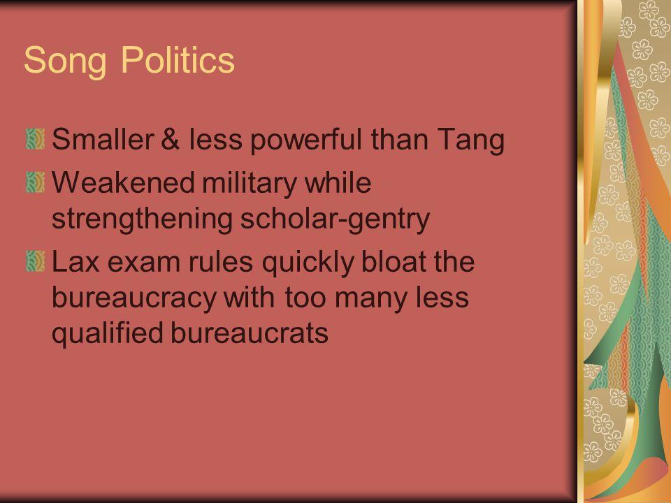 Song Politics Smaller & less powerful than Tang