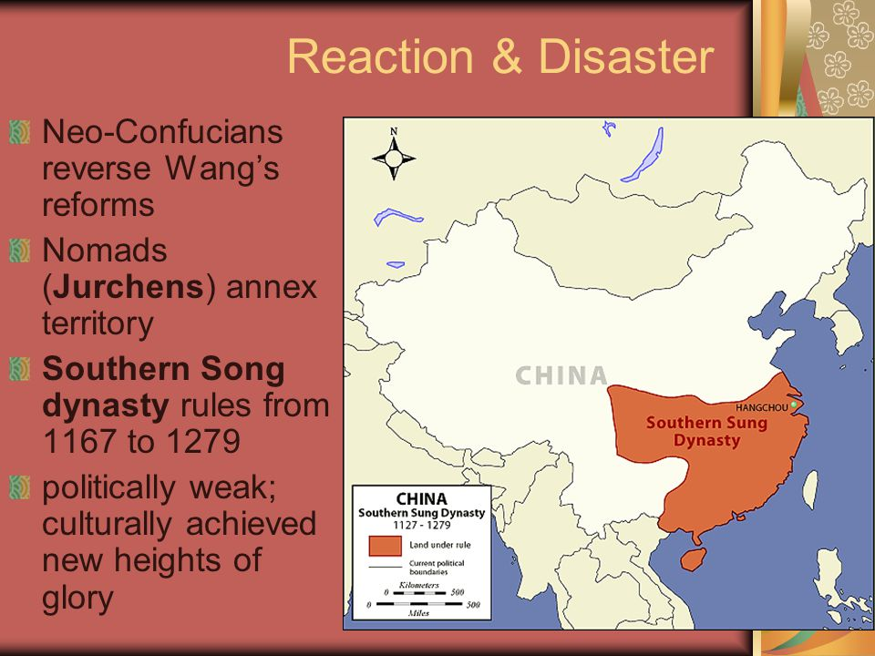 Reaction & Disaster Neo-Confucians reverse Wang's reforms