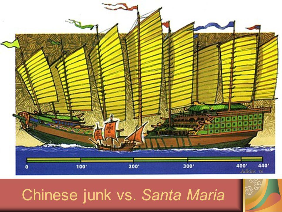 Chinese junk vs. Santa Maria