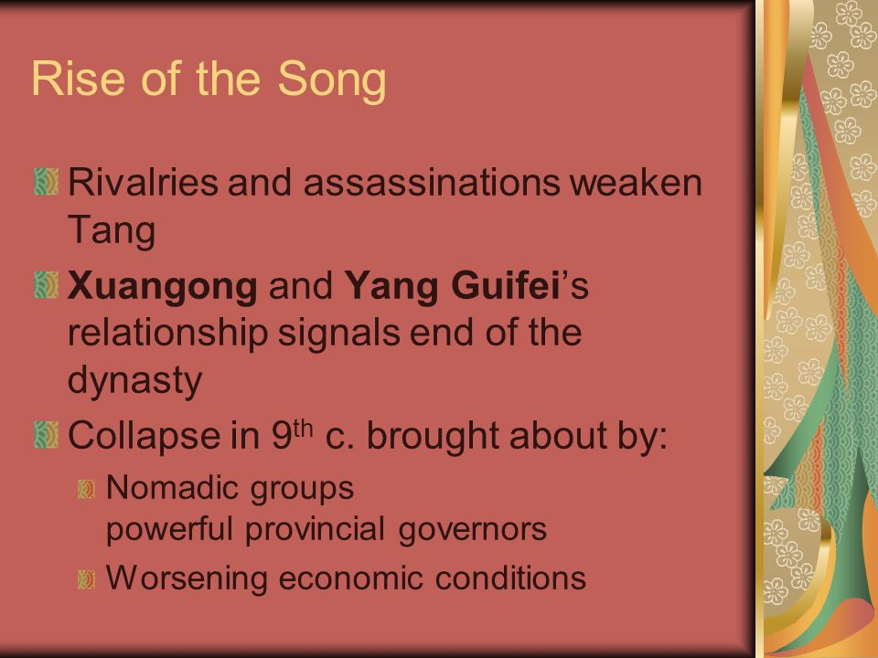 Rise of the Song Rivalries and assassinations weaken Tang