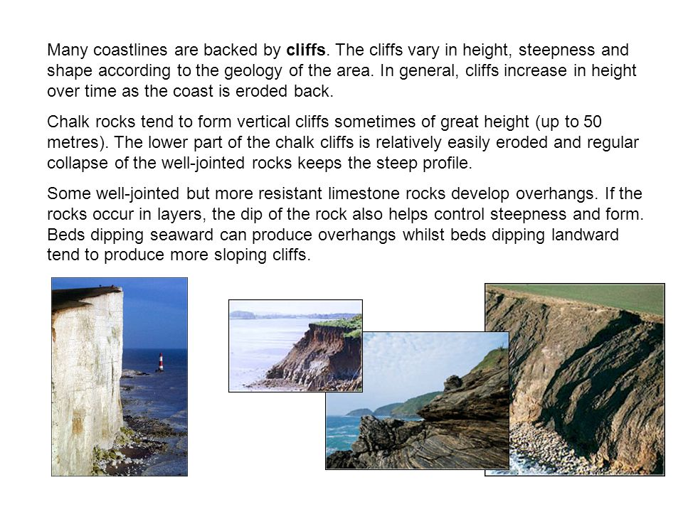 Many coastlines are backed by cliffs